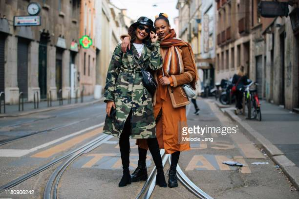 Models Chey Carty and Aaliyah Hydes after Dolce & Gabbana on Day 5 Milan Fashion Week Autumn/Winter 2019/20 on February 24, 2019 in Milan, Italy....