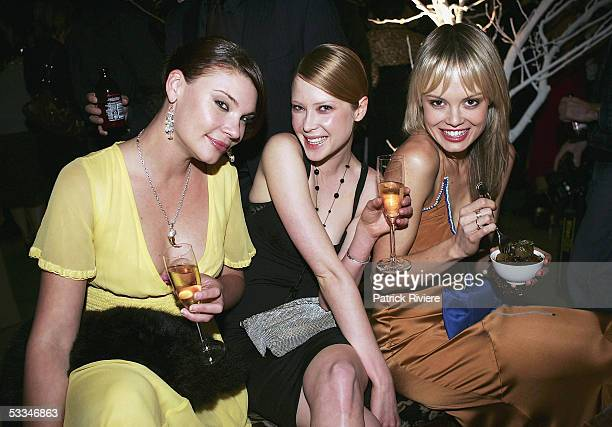 Models Chloe Maxwell Emma Booth and TV personality Amy Erbacher attend the 10th Birthday Party of Marie Claire Magazine at the Technology Park on...