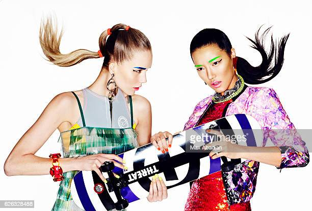 Models Christiane and Shiya Zhao are photographed for Flare Magazine on February 17, 2012 in Montreal, Quebec. PUBLISHED IMAGE.