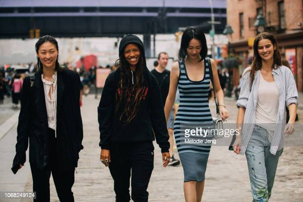 Models Chu Wong Adesuwa Aighewi Jiaye Wu Dasha Denisenko after the Michael Kors show during New York Fashion Week Spring/Summer 2019 on September 12...