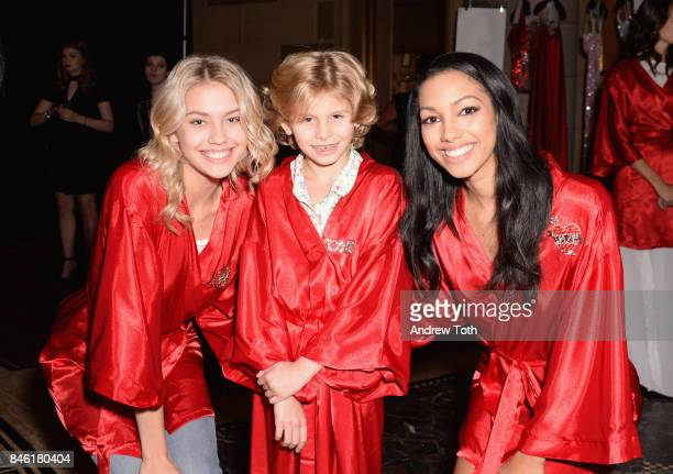 Models Ciel Taylor and Corinne Foxx pose backstage at the Sherri Hill NYFW SS18 fashion show at Gotham Hall on September 12 2017 in New York City