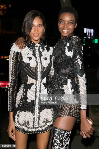Models Cindy Bruna and Maria Borges arrive to attend the 'L'Oreal Paris X Balmain' party on September 28, 2017 in Paris, France.