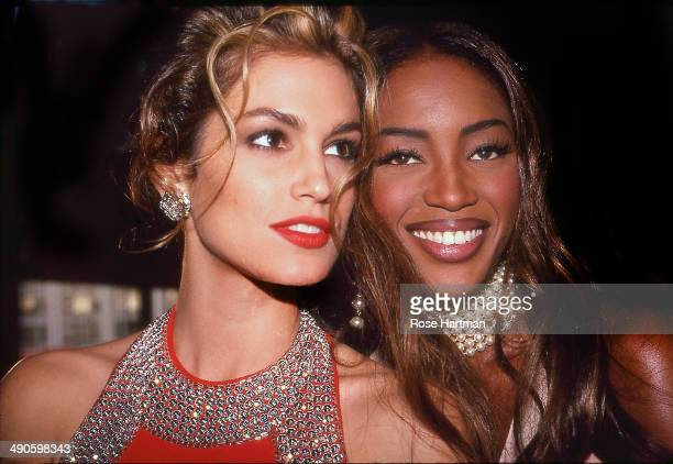 Models Cindy Crawford and Naomi Campbell attend a private party New York City New York 1992