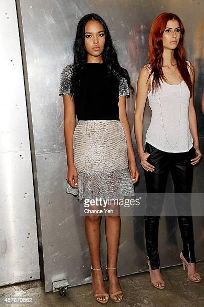 Models Claudia Martinez and Carolina Ayala pose at Casa De Moda by Jessica Lynn Presentation Spring 2016 New York Fashion Week at Prince George...