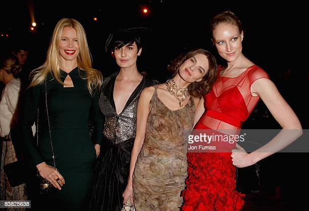 Models Claudia Schiffer, Erin O'Connor, Anouck Lepere and Jade Parfitt attends the British Fashion Awards 2008 held at The Lawrence Hall on November...