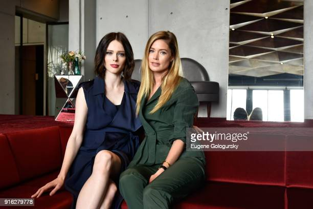 Models Coco Rocha and Doutzen Kroes relax in the Etihad Airways VIP Lounge during IMG NYFW The Shows at Spring Studios on February 9 2018 in New York...