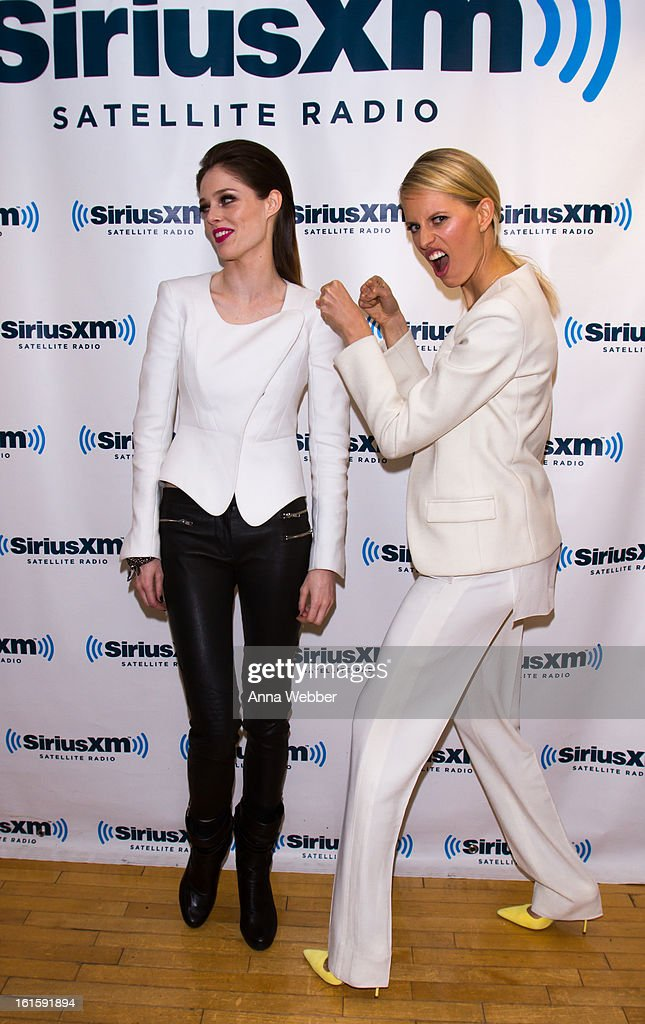 Models Coco Rocha and Karolina Kurkova visit SiriusXM Studios on February 12, 2013 in New York City.