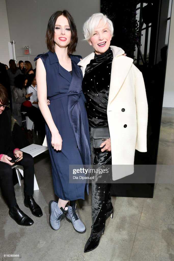 Models Coco Rocha (L) and Maye Musk attend the Jason Wu front row during New York Fashion Week: The Shows at Gallery I at Spring Studios on February 9, 2018 in New York City.