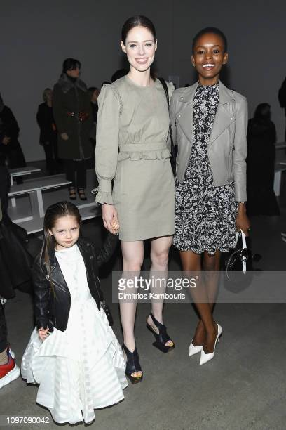 Models Coco Rocha Flaviana Matata and Ioni James Conran attend the Rebecca Minkoff front row during New York Fashion Week The Shows at Gallery I at...