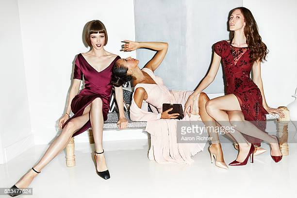 Models Coco Rocha Pat Cleveland and Anna Cleveland are photographed for Glamour Magazine in 2014 in New York City