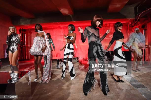 Models dancing at the 16Arlington presentation during London Fashion Week September 2019 on September 13, 2019 in London, England.