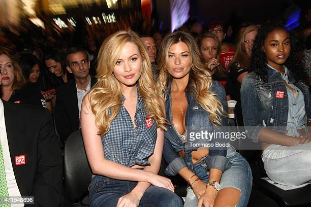 Models Danielle Knudson and Samantha Hoopes attend the GUESS Foundation and Peace Over Violence host 2015 Denim Day celebration at GUESS Headquarters...