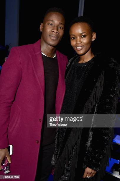 Models David Agbodji and Flaviana Matata attend the Laquan Smith front row during New York Fashion Week The Shows at Gallery I at Spring Studios on...