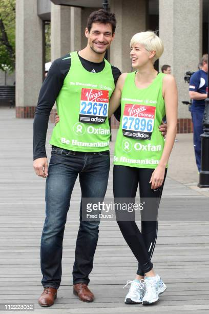 Models David Gandy and Agyness Deyn attend a photocall ahead of the Virgin London Marathon at The Tower Hotel on April 15, 2011 in London, England.