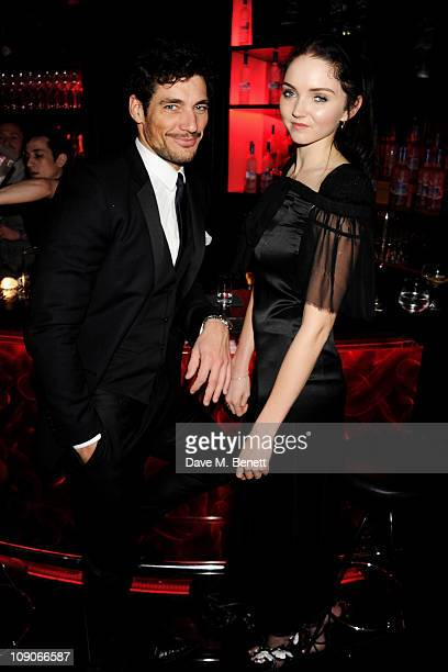 Models David Gandy and Lily Cole celebrate at The Weinstein Company and Momentum Pictures' post-BAFTA party held at W London-Leicester Square on...