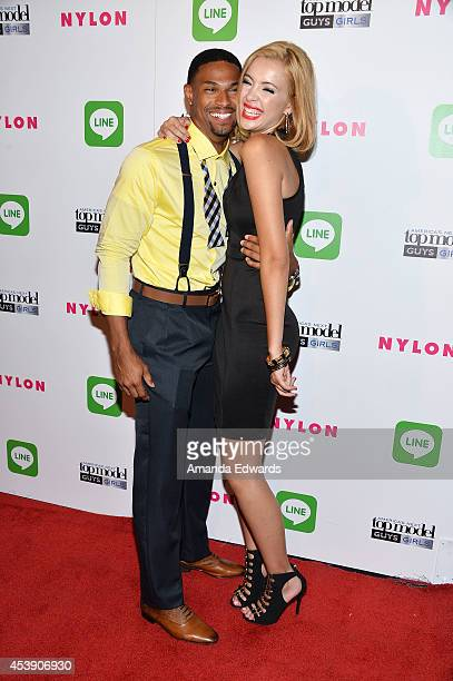 Models Denzel Wells and Mirjana Puhar arrive at the America's Next Top Model Cycle 21 Premiere Party Presented By NYLON and LINE at SupperClub Los...