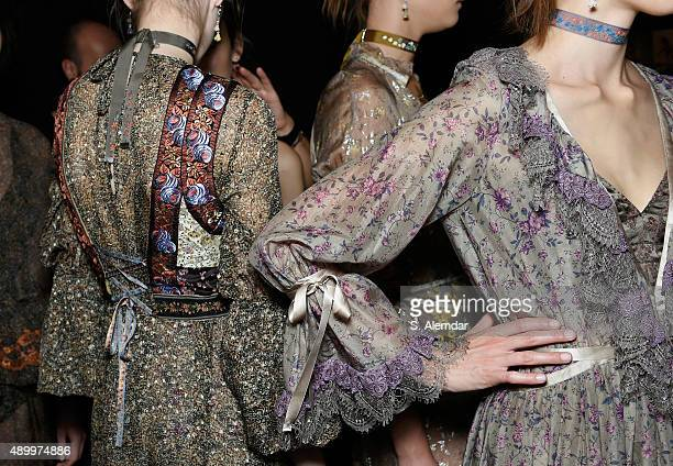 Models detail are seen backstage ahead of the Etro show during Milan Fashion Week Spring/Summer 2016 on September 25 2015 in Milan Italy