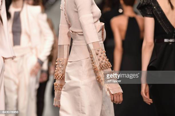 Models detail walk the Antonio Berardi show during the London Fashion Week February 2017 collections on February 20 2017 in London England