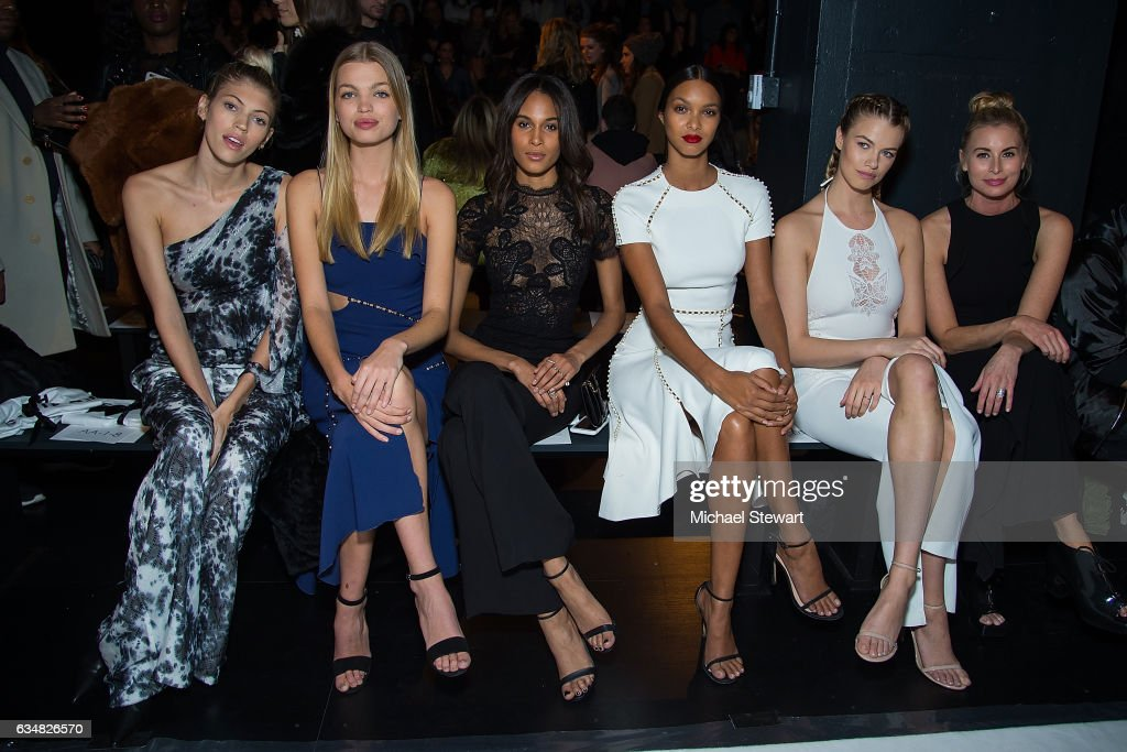 Models Devon Windsor, Daphne Groeneveld, Cindy Bruna, Lais Ribeiro, Hailey Clauson and Niki Taylor attend the Jonathan Simkhai fashion show during February 2017 New York Fashion Week: The Shows at Gallery 1, Skylight Clarkson Sq on February 11, 2017 in New York City.