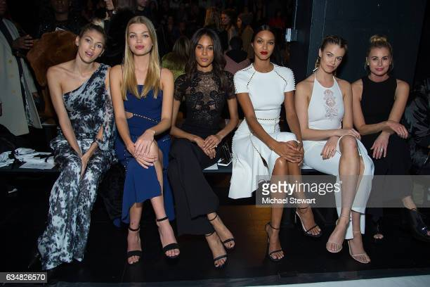 Models Devon Windsor Daphne Groeneveld Cindy Bruna Lais Ribeiro Hailey Clauson and Niki Taylor attend the Jonathan Simkhai fashion show during...
