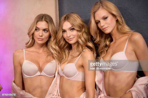Models Devon Windsor Megan Williams Roosmarijn de Kok and Nadine Leopold pose in Hair Makeup during 2017 Victoria's Secret Fashion Show In Shanghai...