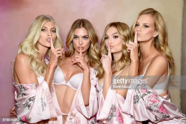 Models Devon Windsor Megan Williams Roosmarijn de Kok and Nadine Leopold during 2017 Victoria's Secret Fashion Show In Shanghai at MercedesBenz Arena...