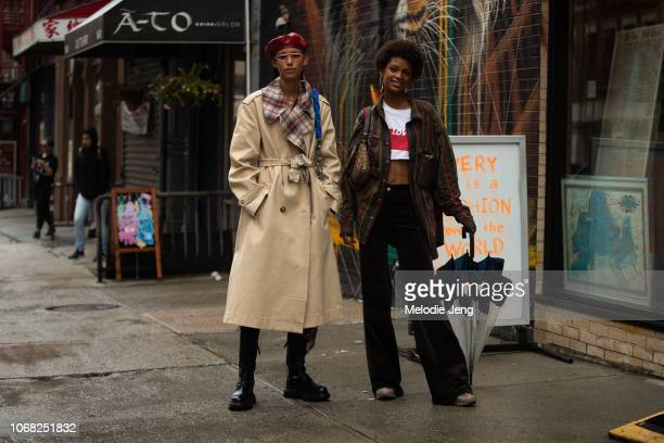 Models Dilone and Theresa Hayes during New York Fashion Week Spring/Summer 2019 on September 10 2018 in New York City Dilone wears a red leather...