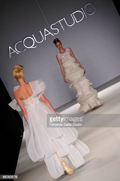 Models display a design by Acquastudio on the second day of Fashion Rio at Pier Maua on June 7 2009 in Rio de Janeiro Brazil