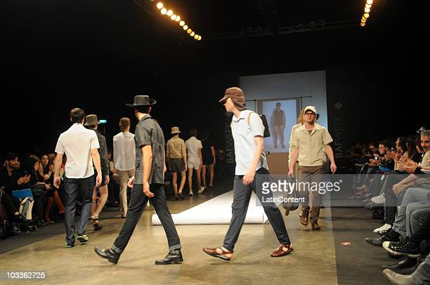 Models display a design by Hermanos Estebecorena during the second day of Buenos Aires Fashion Week on August 12, 2010 in Buenos Aires, Argentina.