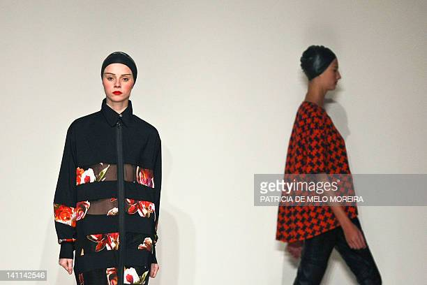 Models display Autum/Winter 2013 creations by Portuguese fashion designer Alexandra Moura during the 38th Edition of Moda Lisboa at Patio da Gale...