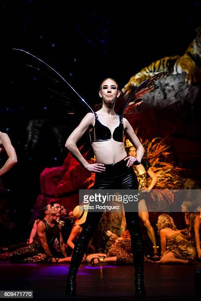 Models display Come Fly With Me by Kelsey Roderick in the Bizarre Bra Section during the World of WearableArt Awards Charity Show 2016 on September...