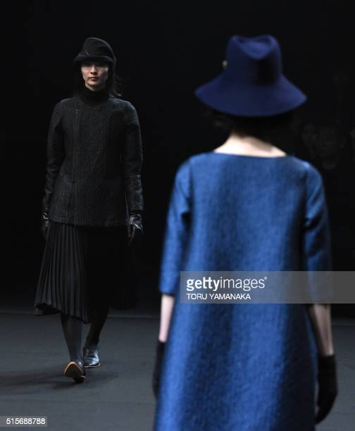 Models display creations from Matohu by Japanese designers Hiroyuki Horihata and Makiko Sekiguchi at the 2016 autumn/winter collection show in Tokyo...