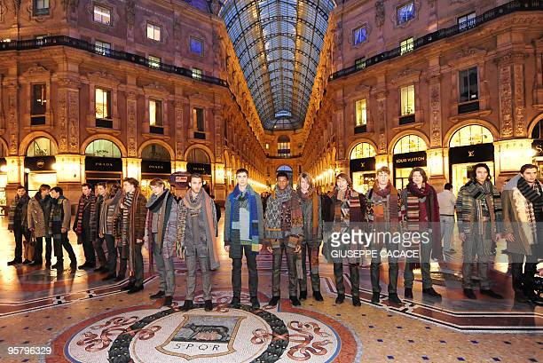 Models display creations in the Vittorio Emmanuele II gallery during a presentation of the Missoni Autumn/Winter 2010/2011 Menswear collection on...