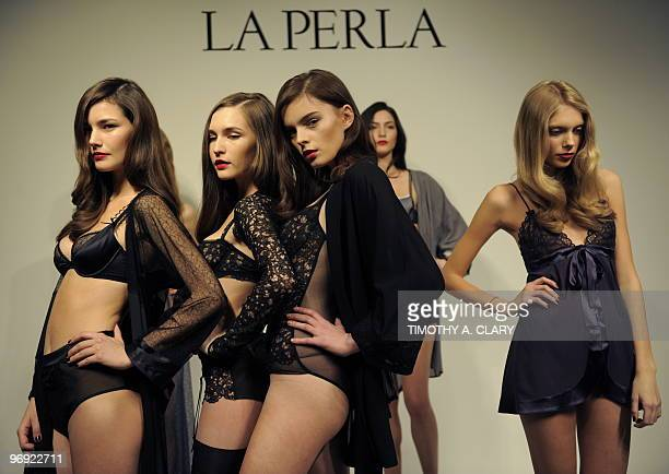 Models display fashions from the La Perla collection during the fall 2010 MercedesBenz Fashion Week in New York on February 11 2010 AFP PHOTO /...