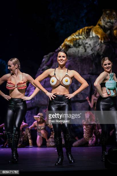 Models display Fried Eggs by Kelsey Roderick Rhys Richards in the Bizarre Bra Section during the World of WearableArt Awards Charity Show 2016 on...