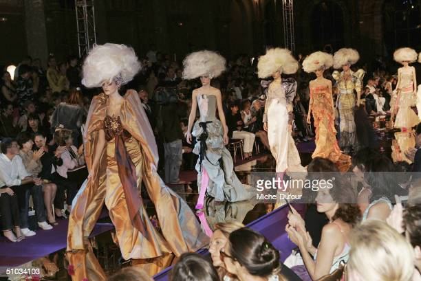 Models display items from the new Christian Lacroix collection at the Christian Lacroix Spring/Summer 2005 Fashion Show during Paris Fashion Week on...