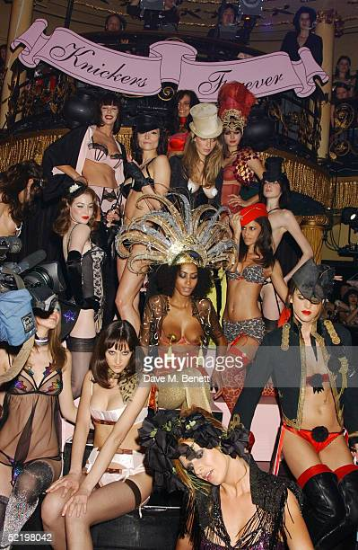 Models display lingerie at the Agent Provocateur 10th Anniversary Party and fashion show at Cafe de Paris on February 14 2005 in London