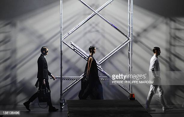 Models display outfits by Spanish designer David Delfin during the presentation of the Autumn/Winter collections of the MercedesBenz Fashion Week...