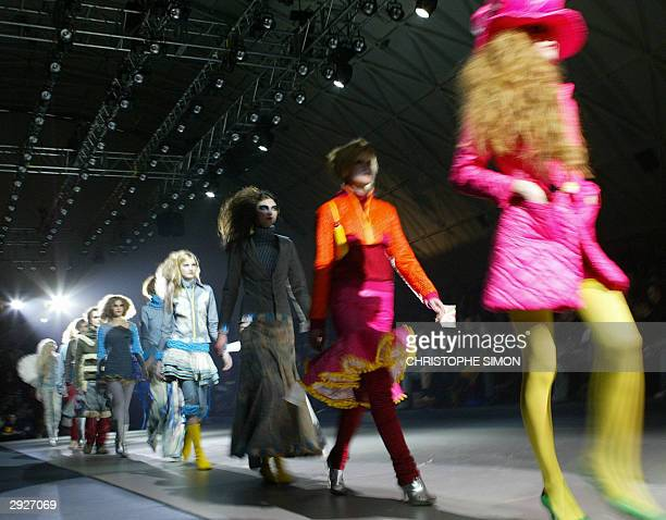 Models display outfits by Spanish designer Nekane Le Frik at the Pasarela Gaudi fashion show in Barcelona 04 February 2004 AFP PHOTO Christophe SIMON
