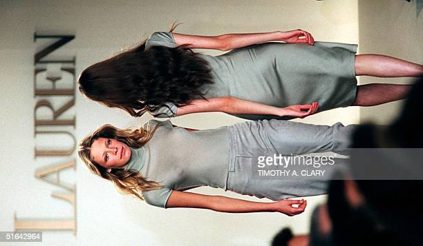 Models display some of the new sheer fabrics during the Ralph Lauren 1998 spring/summer fashion collection 05 November in New York City This week...