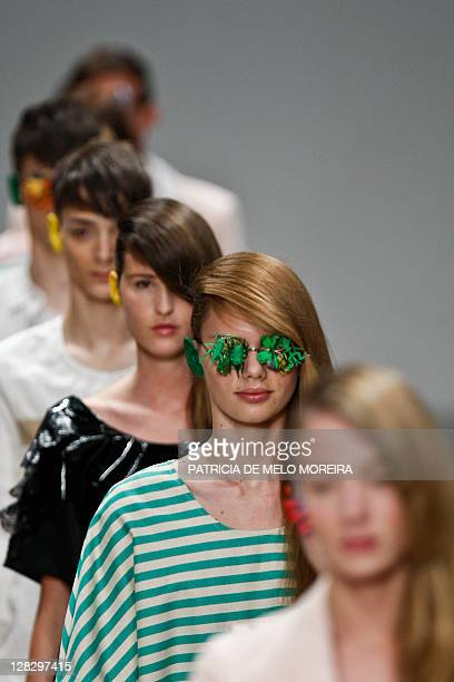 Models display Spring/Summer 2012 creations by Portuguese fashion designer Alexandra Moura during the 37th Edition of Moda Lisboa at Patio da Gale...