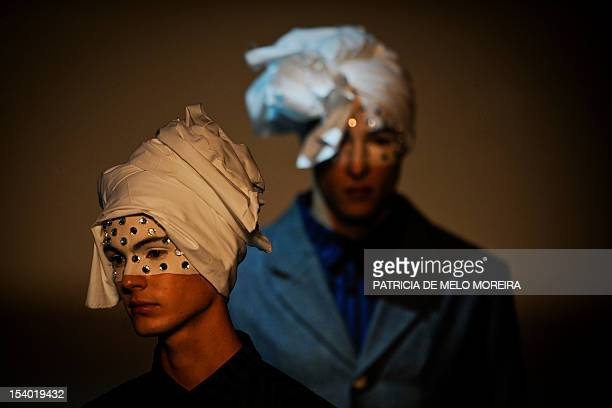 Models display Spring/Summer 2013 creations by Portuguese fashion designer Alexandra Moura during the 39th Edition of Moda Lisboa at Patio da Gale...