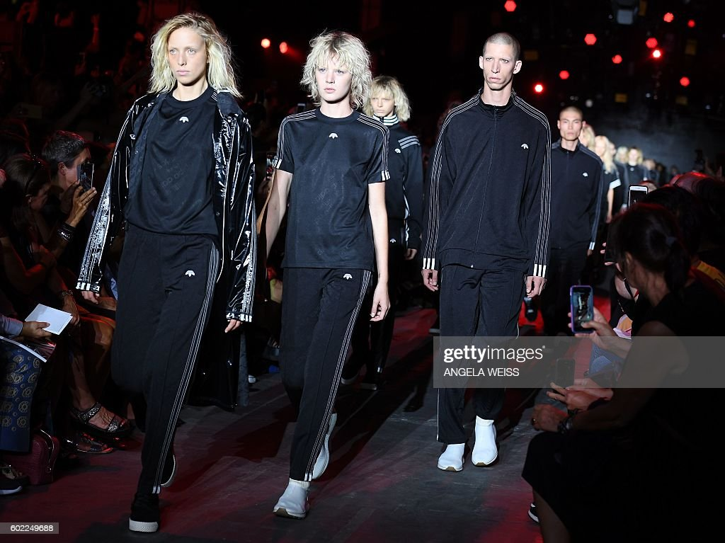 Models display the fashions of Alexander Wang during New York Fashion Week in New York on September 10, 2016. / AFP / ANGELA