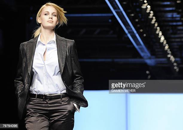 A models displays a creation by Italian fashion designer Elena Miro during the Autumn/Winter 2008/2009 women's collections at Milan Fashion Week on...