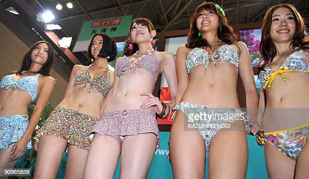 Models displays bikini swimwear from a collection by Japanese apparel giant Sanai during a swimwear show hosted by Guam Visitors Bureau at the World...