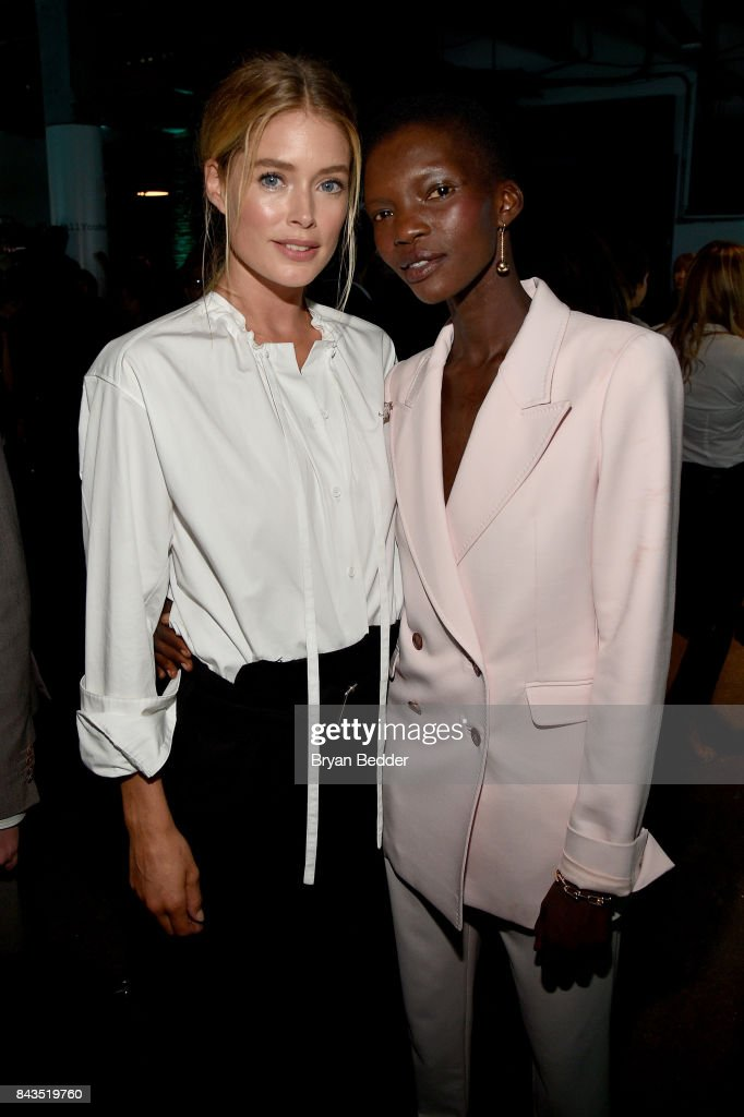 Models Doutzen Kroes and Achok Majak attend the Tiffany & Co. Fragrance launch event on September 6, 2017 in New York City.