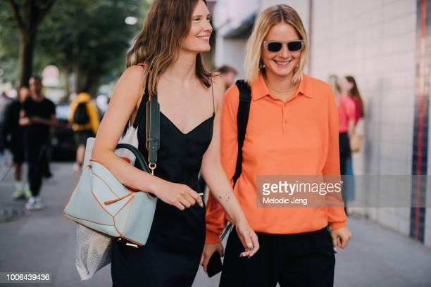 Models Drake Burnette Camilla Deterre after the Alyx show during Paris Fashion Week Mens Spring/Summer 2019 on June 24 2018 in Paris France Drake...