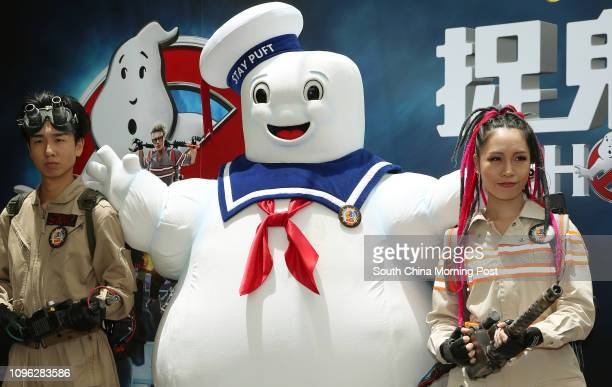 Models dress as Stay Puft Marshmallow Man and Ghostbusters during Ocean Park Reveals Two New Ghostbusters- themed attractions on Ghostbusters Movie...