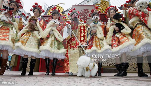 Models dressed as a goddesses of wealth holding dogs pose for a photo with god of wealth as part of a celebration for the Chinese Lunar New Year Year...