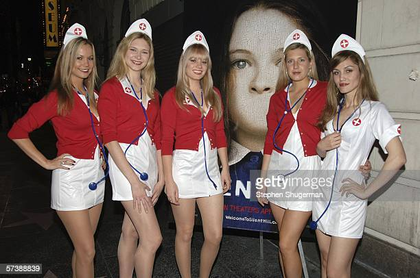 """Models dressed as nurses pose at the after party for the premiere of TriStar Pictures' """"Silent Hill"""" at the Egyptian Theatre on April 20, 2006 in..."""